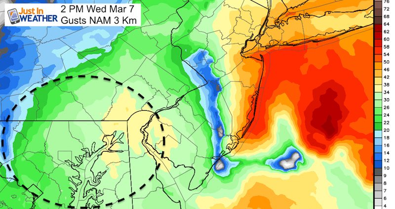 March 5 Gusts Wednesday 2 PM