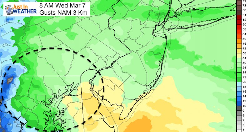 March 5 Gusts Wednesday 8 AM