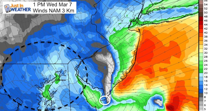 March 5 winds Wednesday 1 PM