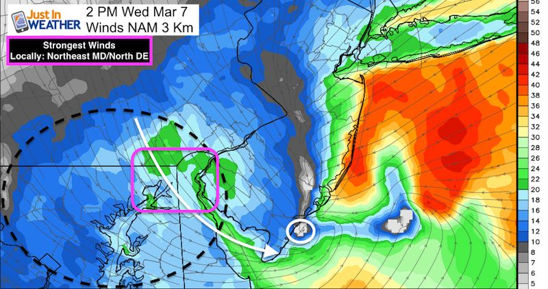March 5 winds Wednesday 2 PM