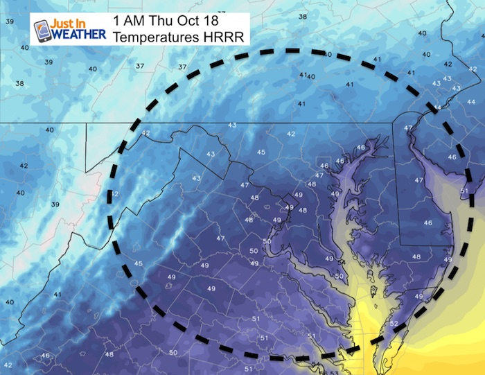 October 17 weather freeze frost temperatures Thursday 1 AM