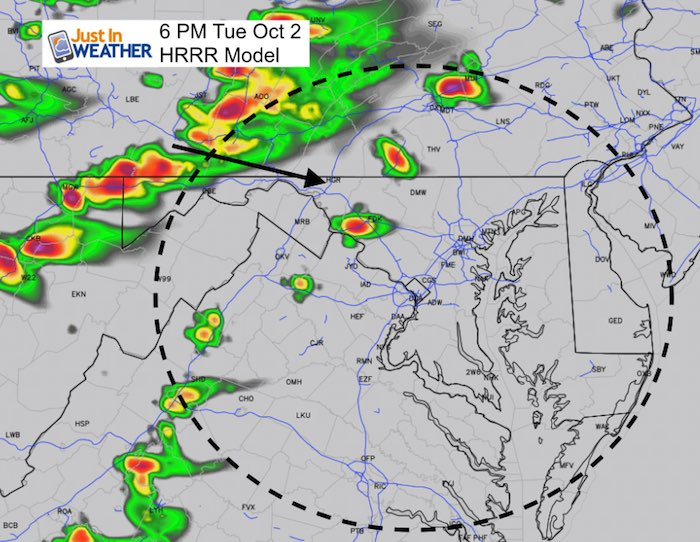 October 2 weather storm Tuesday 6 PM