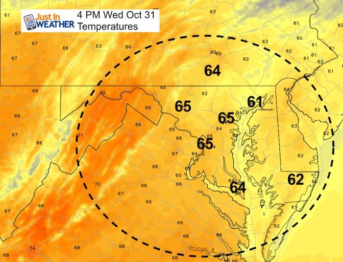 October 31 weather Halloween temperatures 4 PM