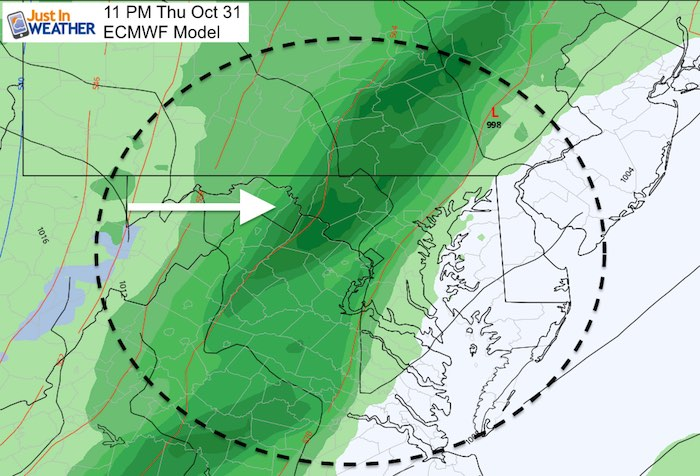 October 30 weather Halloween storm 11 PM