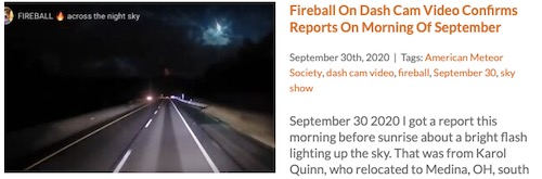 Fireball Dash Cam Video Pennsylvania September 30