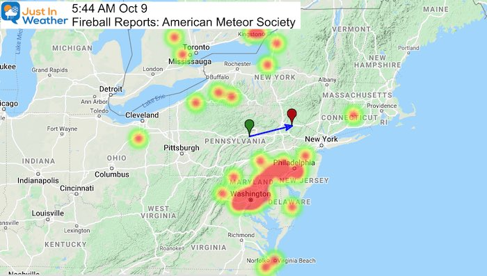 Fireball October 9 A 2020 Heat Map