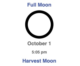 Full Moon Harvest Moon October 1 2020