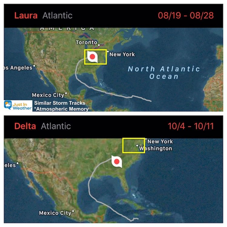 Hurricane Laura and Delta Paths 2020