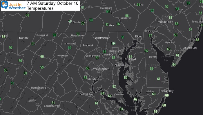 October 10 weather temperatures Saturday morning