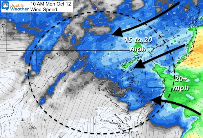 October 11 delta wind speed Monday
