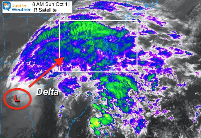 October 11 weather Detla Satellite Sunday morning