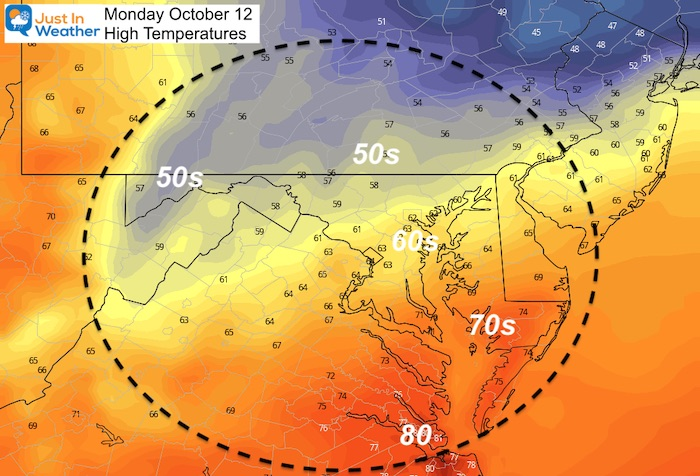 October 11 weather high temperatures Monday