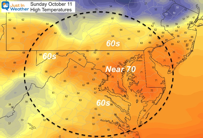 October 11 weather high temperatures Sunday