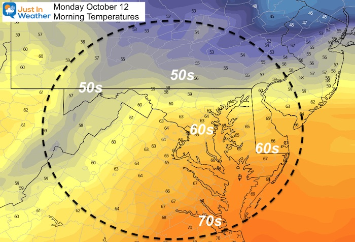 October 11 weather low temperatures Monday
