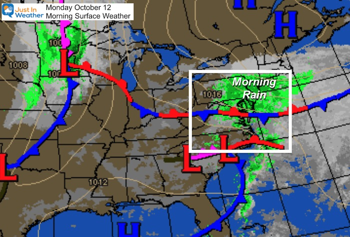 October 12 weather Monday morning
