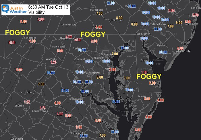 October 13 weather fog Tuesday morning