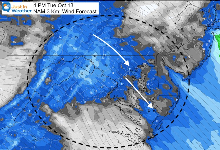 October 13 weather wind forecast Tuesday