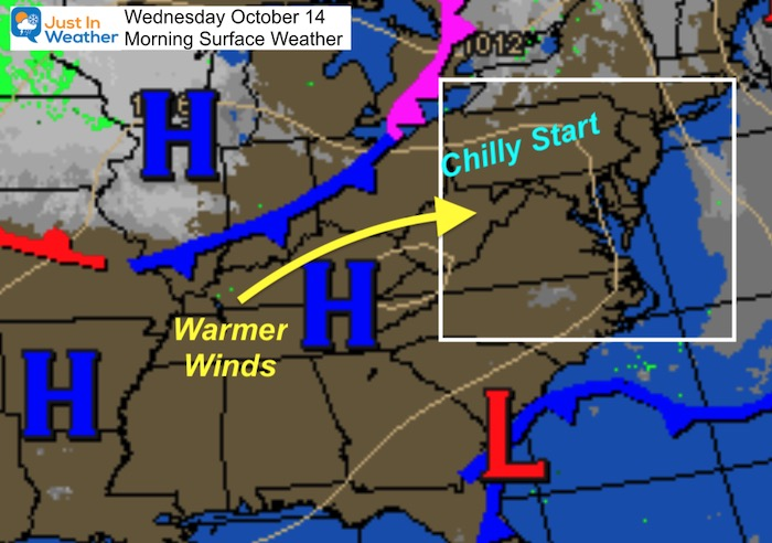 October 14 weather Wednesday morning