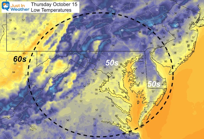 October 14 weather temperature Thursday morning