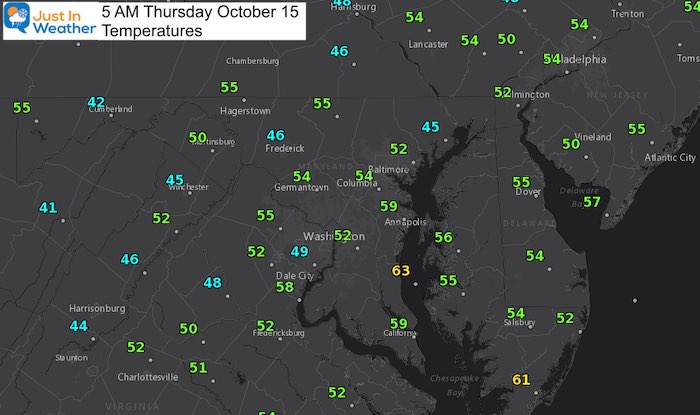 October 15 weather Thursday morning temperatures