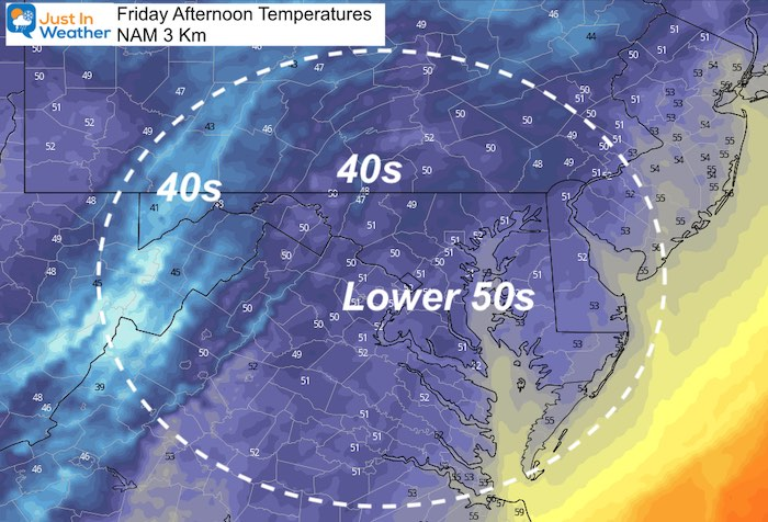 October 15 weather temperatures Friday afternoon