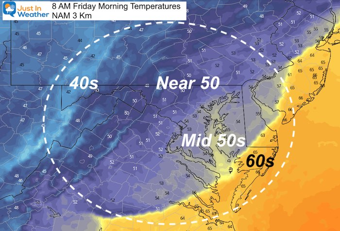 October 15 weather temperatures Friday morning