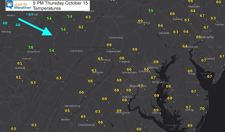 October 15 weather temperatures Thursday evening