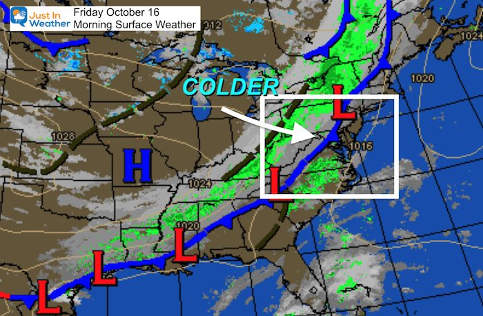 October 16 weather Friday morning