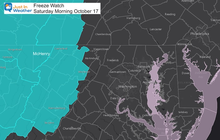 October 16 weather freeze watch Saturday morning