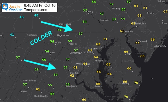 October 16 weather temperatures Friday morning