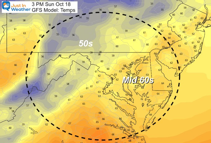 October 17 weather temperatures Sunday afternoon
