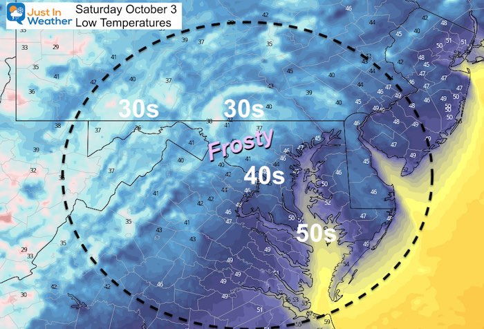 October 2 weather temperature Saturday morning