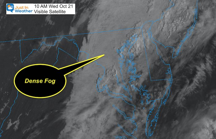October 21 Maryland Weather Fog Satellite 10 AM