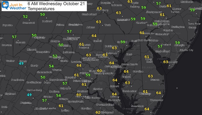 October 21 weather Wednesday morning temperatures