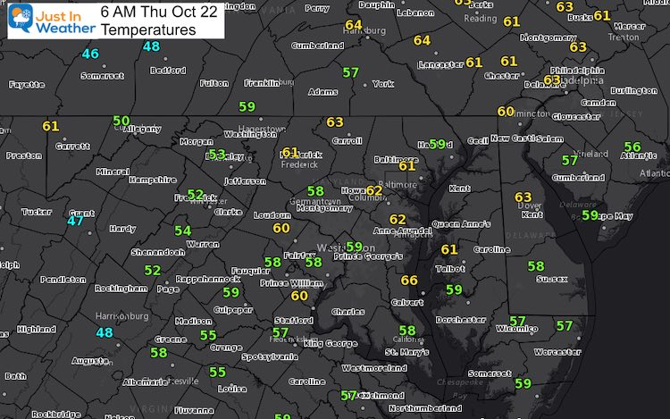 October 22 weather temperatures Thursday morning