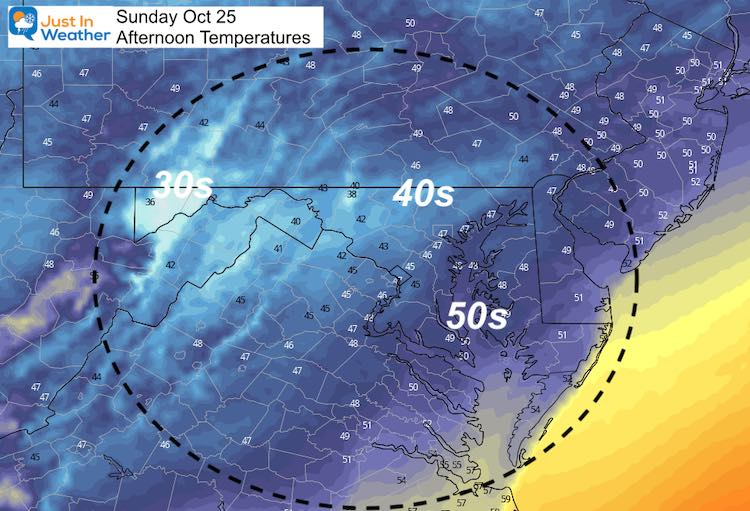 October 24 weather temperatures Sunday afternoon