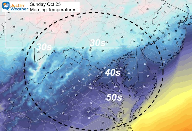 October 24 weather temperatures Sunday morning