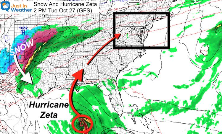 October 25 Snow and Hurricane Zeta Forecast