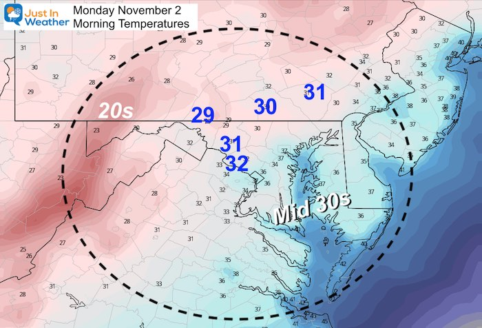October 31 weather temperatures Monday morning