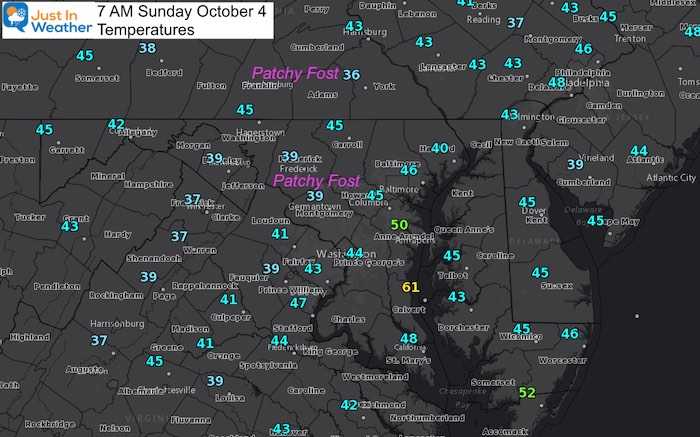 October 4 weather temperatures Sunday morning