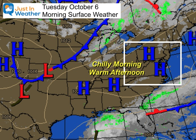 October 6 weather Tuesday morning
