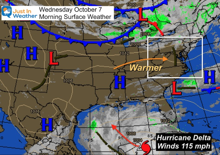October 7 weather Wednesday morning