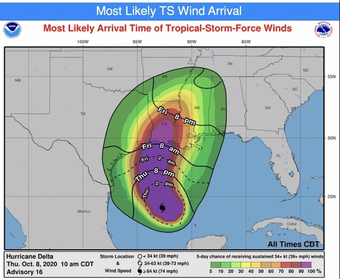 October 8 hurricane delta wind forecast Thursday