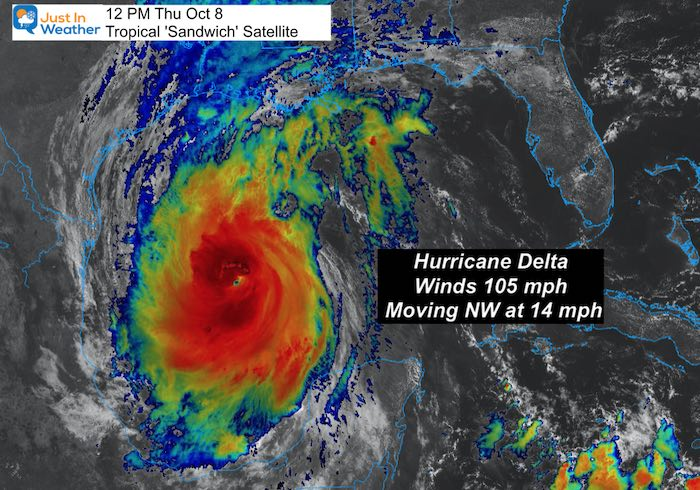 October 8 weather hurricane delta satellite Thursday noon