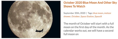 October Blue Moon Sky Meteor Showers