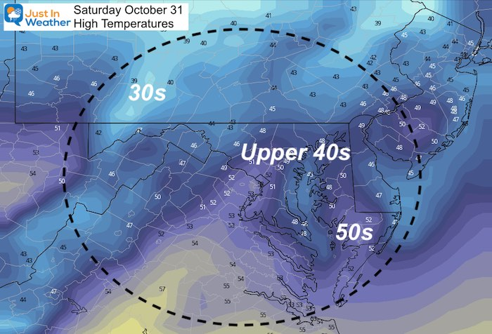 Octoberr 31 weather temperatures Saturday afternoon