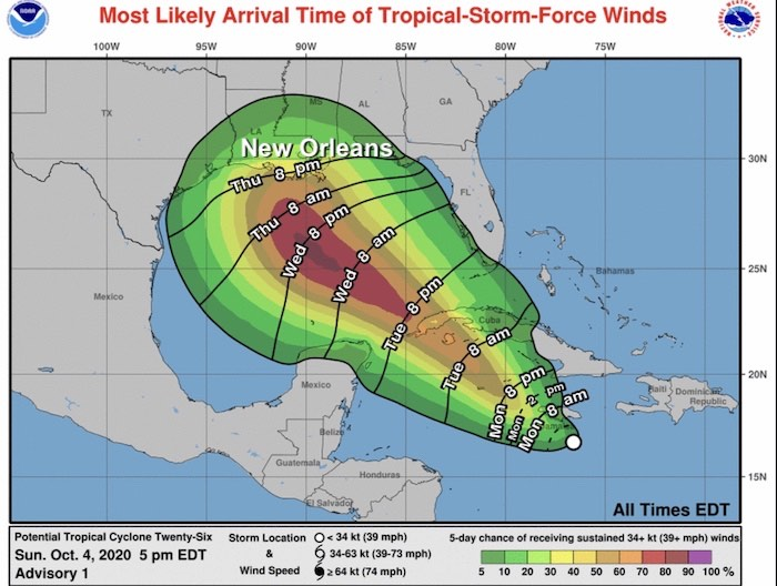 Tropical Storm Winds NHC October 4