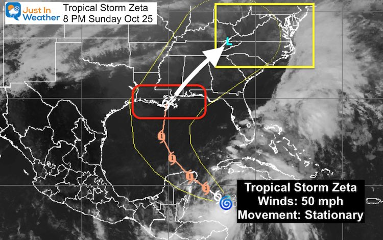 Tropical Storm Zeta October 25 satellite