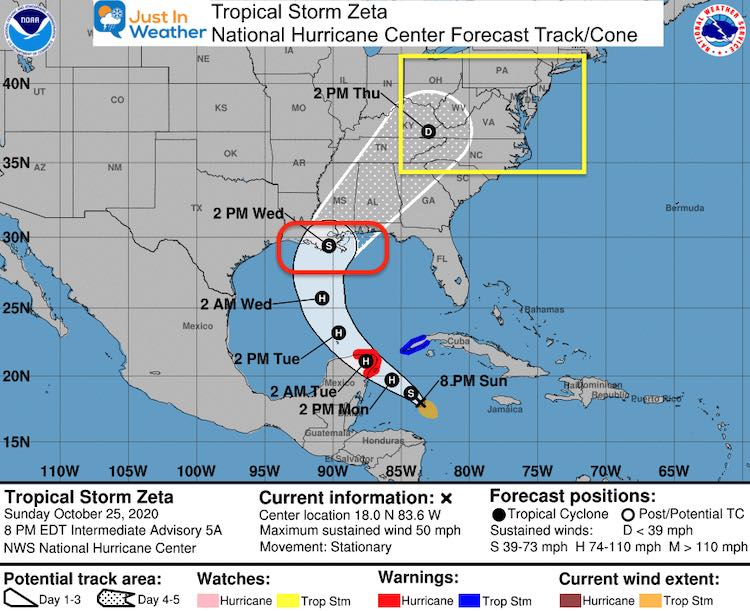 Tropical Storm Zeta forecsast National Hurricane Center October 25
