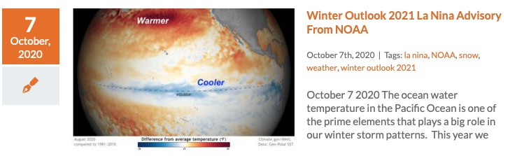 Winter Outlook 2021 La Nina Advisory